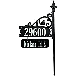 "USA Handcrafted Boardwalk Double Sided Super Reflective Address Sign 48"" with Personalized Nameplate, Highly Visible Day/Night"