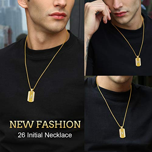 ETEVON Initial Necklace for Men Capital Letter X Pendant Gold Plated Golden Chain A-Z Personalized Hip Pop Anniversary Father's Day Birthday Graduation Jewelry Gift for Men Him Husband Boyfriend Boys