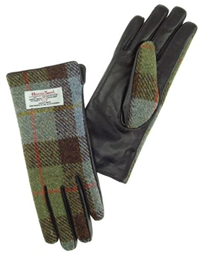 Woven Kilt (Ladies 100% Harris Tweed and Brown Leather Traditional Tartan Check Gloves / Mitts)