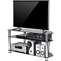 TAVR Black Tempered Glass Corner TV Stand Cable Management Suit for up to 50 inch LCD, LED Oled TVs,Chrome Legs TS2002