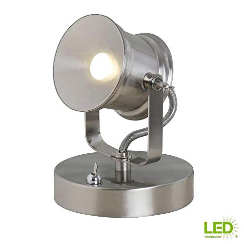 Hampton Bay 5.1 in. Brushed Nickel Integrated LED Spotlight Desk Lamp