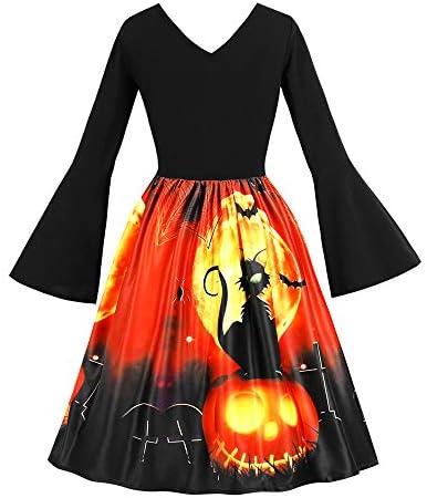 ハロウィン ワンピース コスプレ 仮装 大人 レディース フレア 長袖 かぼちゃ コウモリ 黒猫 プリーツ スイングドレス 魔女