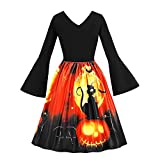 GREFER Women Long Sleeve Dress Vintage Pumpkins Evening Prom Costume Swing Dress Halloween Christmas St. Patrick's Day Black