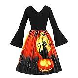 Automotive : Clearance Halloween Dress, Forthery Women Vintage Pumpkin Skull V Neck Skater Swing A-line Dress (US Size XS = Tag S, Black)