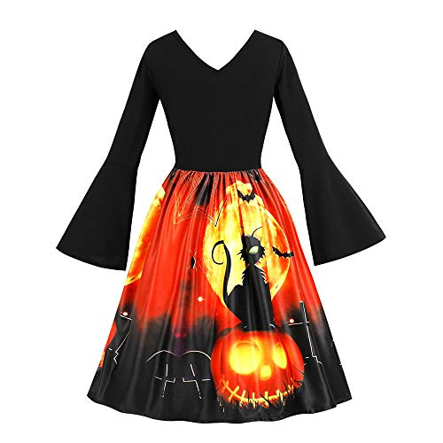 Clearance Halloween Dress, Forthery Women Vintage Pumpkin Skull V Neck Skater Swing A-line Dress (US Size L = Tag XL, -