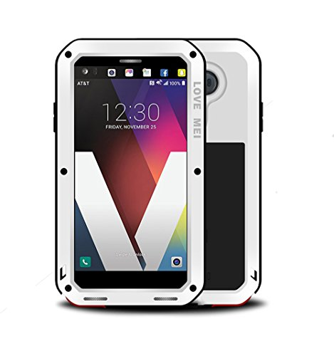 LG V20 Case,Mangix Love Mei Water Resistant Shockproof Aluminum Metal [Outter] Super Anti Shake Silicone [Inner] Fully Body Protection with Gorilla Glass Screen Protector for LG V20 (White)