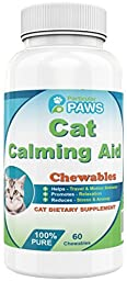 Cat Calming Aid - Passion Flower, Hops Flower Extract, Dextrose, Brewers Yeast, Calcium, Magnesium, Vitamin B6 - 60 Chewables by Particular Paws
