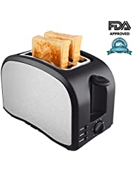 2 Slice Toaster Wide Slot Compact Brushed Stainless Steel Slice Toaster with Removable Crumb Tray 2-Slice Toaster with Defrost, Reheat, and Cancel Buttons