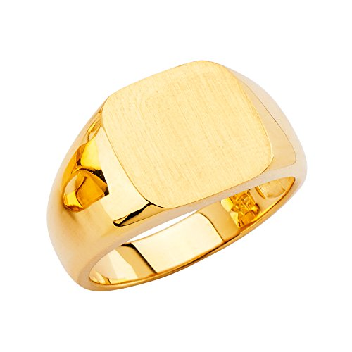 - Wellingsale Mens 14K Yellow Gold Engravable Signet Ring - Size 12