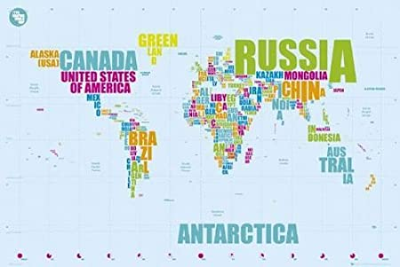 Close Up World Map Poster Country Names (36\