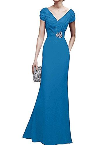Lang Braut Marie Blau Festlichkleider La Chiffon Brautmutterkleider Damen Brautmutterkleider Abendkleider I6qPwHF