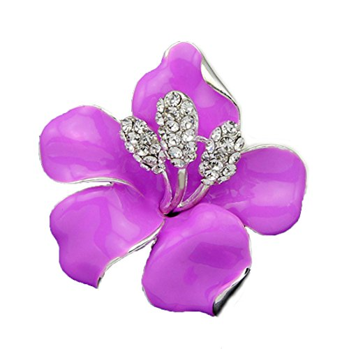 Fashion Jewelry Fancy Vintage Rhinestone Bling Crystal Rose Flower Brooch Pin (Purple)