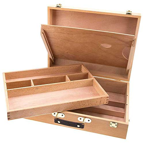 (Artist's Supply Painting Sketch Box, Hard Beechwood - Extra Large All Media Storage Case)