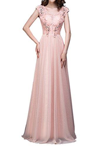 sunvary elegante una línea Jewel cuello Seda y encaje vestidos de fiesta Prom Fiesta Rosa