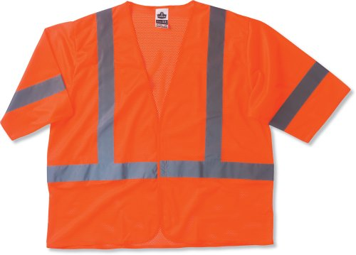 Economy Orange Vest - Ergodyne GloWear 8310HL ANSI Class 3 Economy High Visibility Orange Reflective Safey Vest with Sleeves, Small/Medium