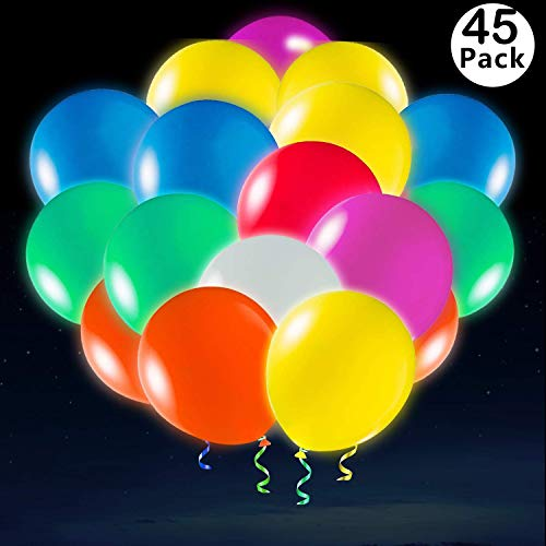 Xstar 50 Pack LED Balloons Light Up Party Balloons Glow in The Dark Balloons Bulk Party Decroation for Halloween,Christmas,Celebration,Birthday,Wedding ,etc,Lasts12-24 Hours,45+5Free Gift(50PCS)