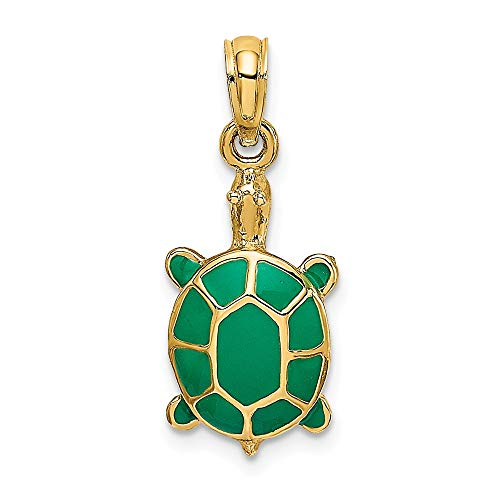 - 14k Yellow Gold Green Enamel Tortoise Pendant Charm Necklace Animal Fine Jewelry Gifts For Women For Her