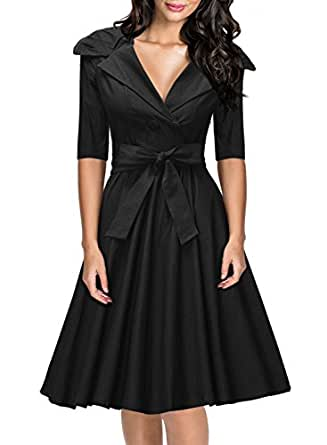 Missmay Womens Classy 1950's V-neck Rockabilly Swing Bridesmaid Dress Black