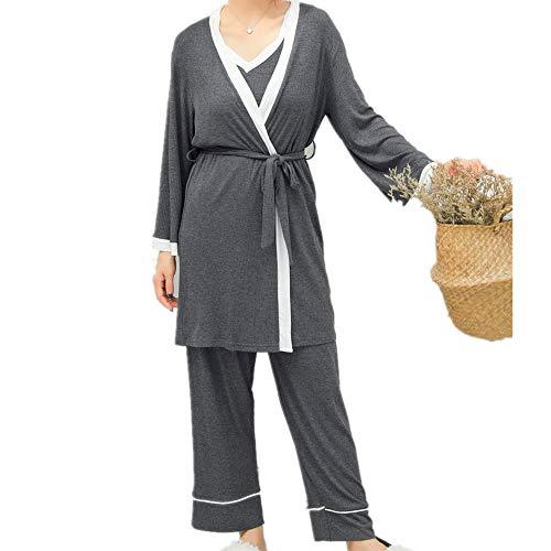 Pijamas Larga Mujer Manga De Mmllse Casuales Gray Tres Camisón Piezas Para Algodón Sueltos Gran Tamaño Iwx0Zpqn