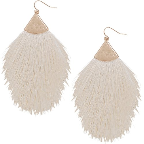 Humble Chic Fringe Tassel Statement Dangle Earrings - Lightweight Long Feather Drops, Off White, Ivory-Colored, Cream, Gold-Tone