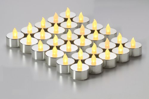 Brightpik Premium Flameless Candles - Set of 30 LED Battery Operated Tea Lights - Silver Plated