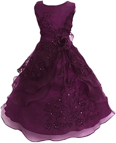 Embroidered Beaded Dress (Shiny Toddler Little Girls Embroidered Beaded Flower Girl Birthday Party Dress With Petticoat Grape 5t-6t)