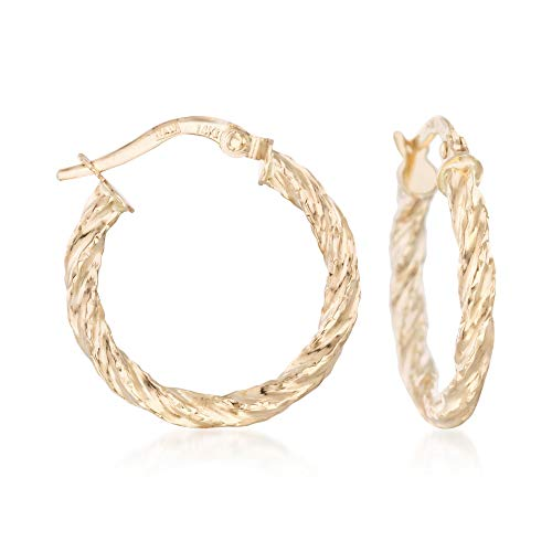14kt Yellow Gold Textured and Twisted Hoop Earrings ()