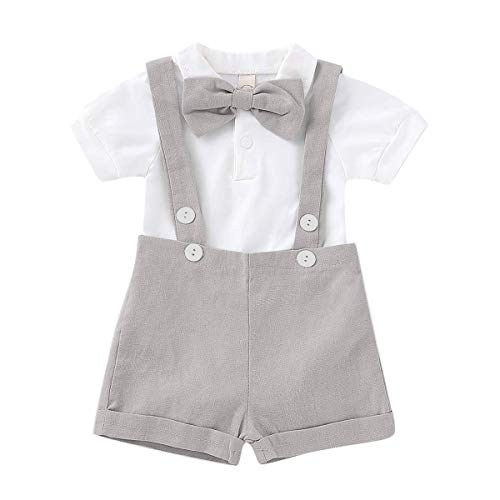 Baby Boys Gentleman Outfits Set Short Sleeve Romper with Tie and Overalls Bib Pants Wedding Tuxedo Outfits (Grey, 6-12 Months)