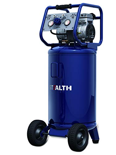 STEALTH Air Compressor, Ultra Quiet and Oil-Free 1.8 HP 20 Gallon with Low Voltage Start, Cold Weather Start, and Auto Drain Valve, Blue-SAQ-12018
