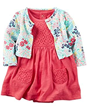Baby Girls' 2 Piece Cardigan Print Dress Set