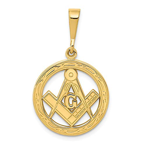 14k Yellow Gold Masonic Freemason Mason Pendant Charm Necklace Career Professional Man Fine Jewelry Gift For Dad Mens For Him