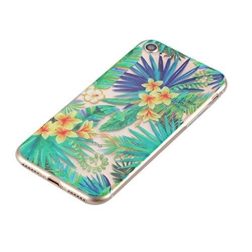 Custodia per iPhone 7 ,JIENI Trasparente Cover TPU The Secret Garden Disegno Silicone Bumper Case per Apple iPhone 7