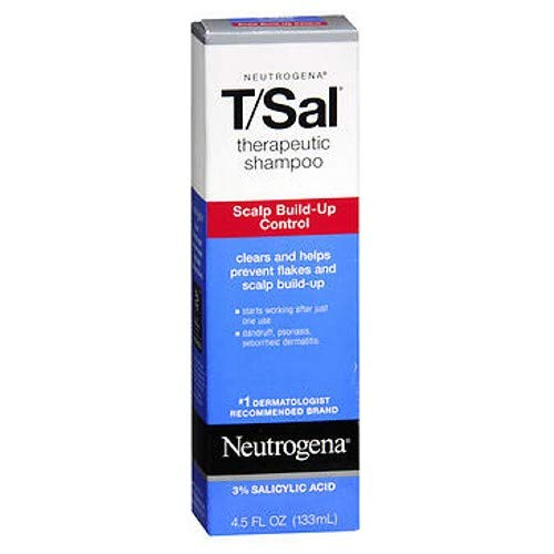 Neutrogena T/Sal Therapeutic Shampoo, Scalp Build-Up Control 4.5 oz (Pack of 2)