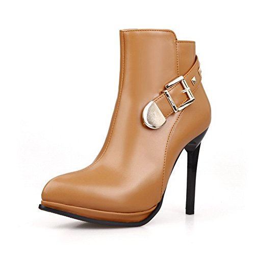 VogueZone009 Womens Solid PU Boots with Slipping Sole and Stiletto Shoes, Yellow, 34]()