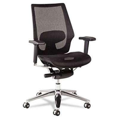 Alera ALEKE4218 K8 Series Ergonomic Multifunction Mesh Chair, Aluminum Base/Frame, Black