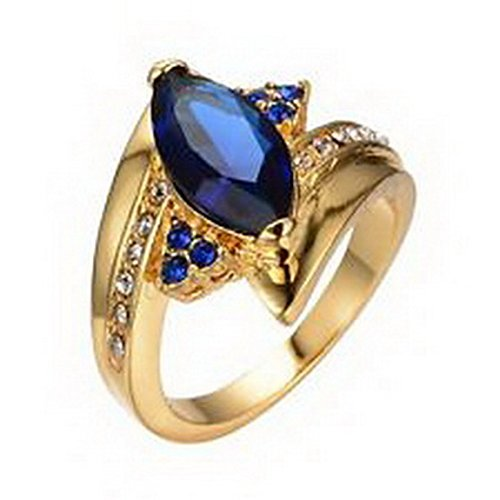 jacob alex ring Jewelry Ring Size6 Blue Sapphire Crystal CZ Women's Yellow Gold Filled Gift (Gold Filled Case)
