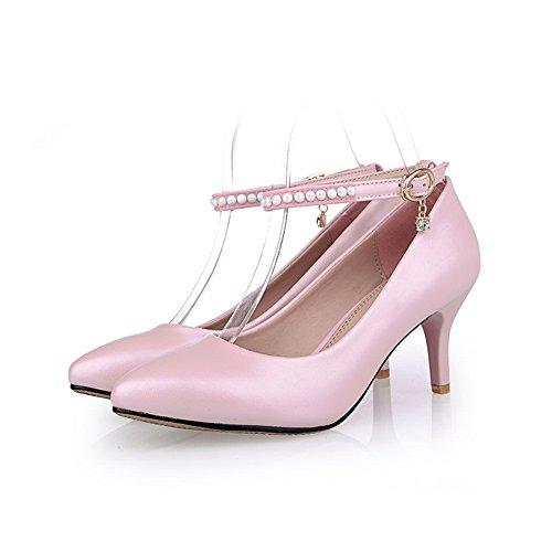 Balamasa Pour Femme, Boucle-boutonnée Talon Aiguille-talon Caoutchouc-chaussures, Rose (rose), 35