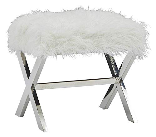 (Pulaski DS-D199-702 Modern Sheepskin Bench with X Base Accent Seating, White)