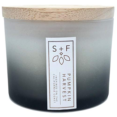 Sand and Fog Pumpkin Harvest Scented Candle with Wood Lid in a Frosted Jar
