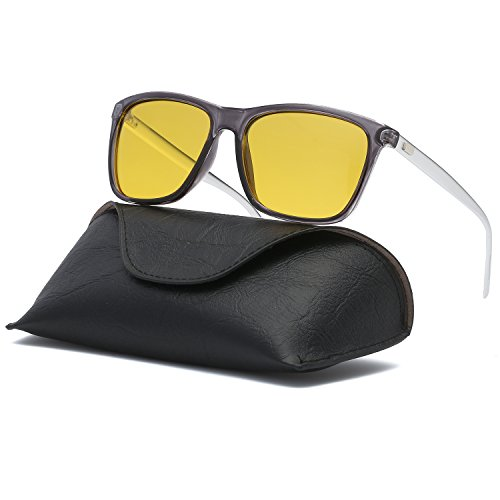 Ray Parker Unisex Polarized Sunglasses Classic Men Retro Sun Glasses RP387 with Transparent Grey Frame/Yellow - Sunglasses Where Are They