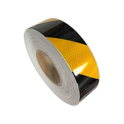 Reflective Hazard Tape Safety Reflectors Tape Black Yellow Diamond Types 2″×16.4′2 PCS ()
