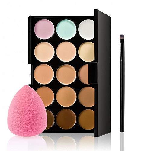 Concealer Palette, 15 Colors Makeup Palette Facial Camouflage Contour Palette with Sponge Puff Oval & Makeup Brush…