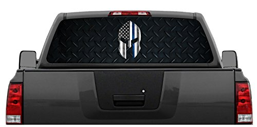 Spartan-Helmet-Police-Thin-Blue-Line-Diamond-Plate-Rear-Window-Graphic-Decal-for-Truck-SUV-4-Sizes