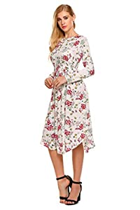 Hotouch Women's Round Neck Midi Dress Solid and Floral Print (Wine Red XL)