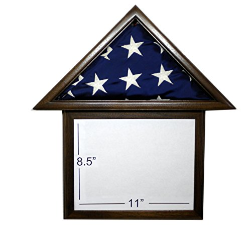 Solid Walnut Flag Display Case & attached 8.5 x 11 Frame, American Made, for 3 x 5' Nylon Flag