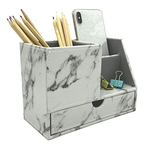 UnionBasic PU Leather 4 Compartment Desk Organizer Card/Pen/Pencil/Mobile Phone Office Supplies Holder Collection Desktop Organizer (NEW Marble White (L))