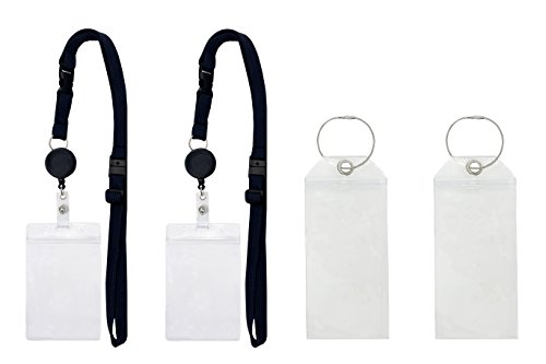 Kaelts 2 Pack Cruise Lanyard And Card Holder  Zip Lock Polyester Badge Holder With Retractable Reel And Adjustable Lanyard  Complete With 2 Luggage Tag Holders