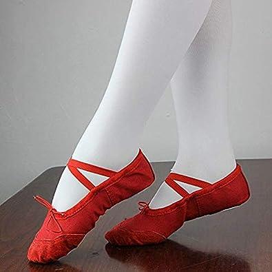 Bitte bestellen Sie eine Nummer gr/össer DoGeek Gute Qualit/ät Ballettschuhe weich Spitzenschuhe Ballet Trainings Schl/äppchen Schuhe f/ür M/ädchen//Damen in den Gr/ö/ßen 22-44