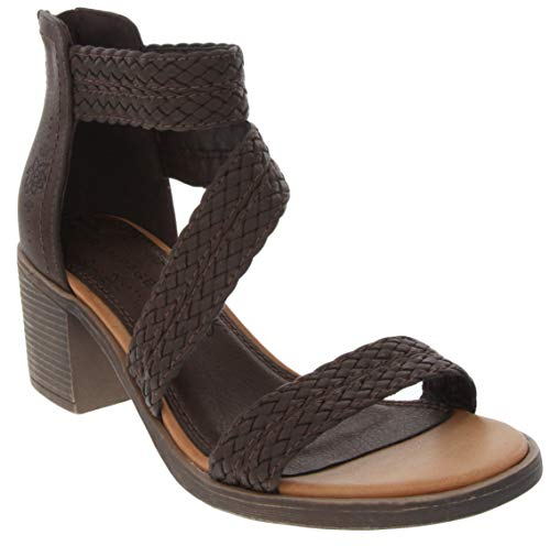 Rampage Women's Helena Braided Stap Heeled Dress Sandal 9 Dark - Buckle Helena