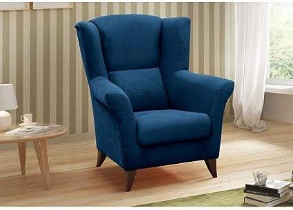 EIVA Fauteuil tapiss/é avec Oreilles et accoudoirs Bleu Marine Fauteuil en 1 Place en Tissu Fixe